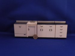 "Kitchen cabinet, sink and dish washer - 1/2"" scale"