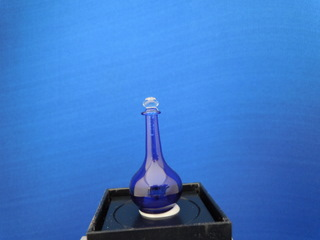 Blue glass decanter with stopper